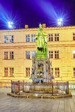 Monument for Charles IV near Saint Francis and Charles Bridge in Stock Photos