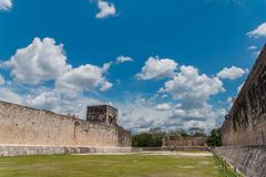 Monument of Chichen Itza pyramid Mexico Yucatan. Ring Mayan ball game in the ancient city of Uxmal Royalty Free Stock Photos