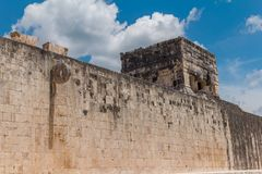 Monument of Chichen Itza pyramid Mexico Yucatan. Ring Mayan ball game in the ancient city of Uxmal Royalty Free Stock Image