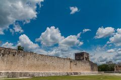 Monument of Chichen Itza pyramid Mexico Yucatan. Ring Mayan ball game in the ancient city of Uxmal Royalty Free Stock Photography
