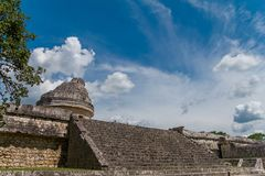 Monument of Chichen Itza snake pyramid Mexico Yucatan. El Caracol, Ancient Mayan observatory of Chichen Itza Royalty Free Stock Photos