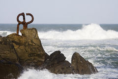 Monument by chillida in donostia Royalty Free Stock Photography