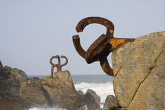 Monument by chillida in donostia. Spain royalty free stock photos