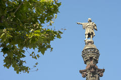 Monument of Christopher Columbus, Barcelona, Spain Stock Images