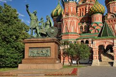 Monument citizen Minin and Prince Pozharsky. On the background of St. Basil's Cathedral, Red Square Stock Photos
