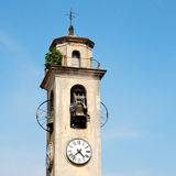 monument  clock tower in italy europe old  stone and bell Royalty Free Stock Photography
