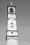 monument  clock tower in italy europe old  stone and bell Stock Photography