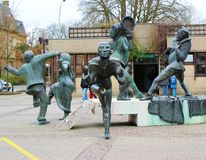 Monument of clowns in Luxembourg city Stock Image