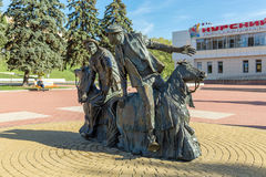 Monument clowns Yuri Nikulin and Michael Shuidin in Kursk, Russi Royalty Free Stock Image