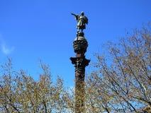 Monument of Colon in Barcelona, Catalonia. Monument to Colon, in the Plaza del Portal de la Paz, Barcelona Catalonia. Sculpture with a viewpoint at the top Stock Photos