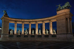 Monument colonnade  in the evening. Monument colonnade on a central square of Budapest in the evening Stock Photo