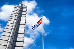 Monument and cuban flag at the Revolution Square in Havana Stock Photography