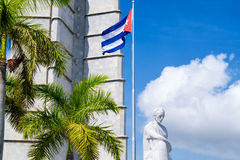 Monument and  cuban flag at the Revolution Square in Havana Royalty Free Stock Image