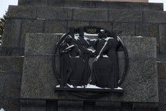 Monument d'amitié d'un granit contre la nature d'hiver La Russie, Bashkortostan Photo stock