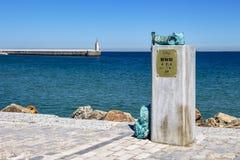 Monument d'Encuentro de Senderos Europeos, Tarifa, Espagne photographie stock