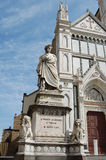 Monument Dante Alighieri in Florence. Monument Dante before a cathedral Santa Crose in Florence. Italy Royalty Free Stock Image