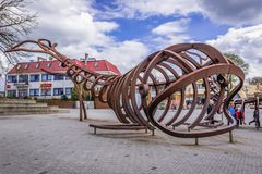 Monument de baleines dans Rewal Photographie stock