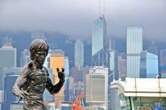 Monument de Bruce Lee dans l'avenue des étoiles en Hong Kong Image libre de droits