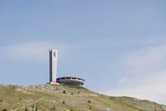 Monument de Buzludja sur la colline Photographie stock