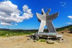 Monument de cercle arctique près du centre de visiteur en Norvège Photo libre de droits