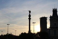 Monument de deux points de Barcelone, Cristoforo Colombo, Espagne Images libres de droits