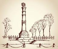 Monument de gloire à Poltava, Ukraine Croquis de vecteur illustration stock