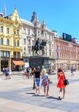 Monument de Josip Jelacic d'interdiction dans la place centrale à Zagreb, Croatie photographie stock libre de droits