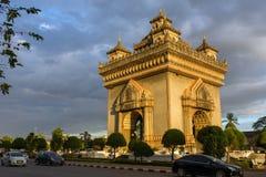 Monument de Patuxai à Vientiane, Laos Images libres de droits