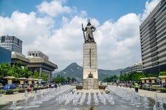 Monument de Sun-péché d'amiral Yi à la place de Gwanghwamun à Séoul, Corée du Sud Photographie stock libre de droits
