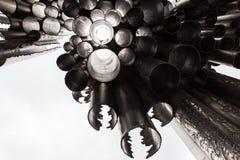 Monument de tuyaux d'organe de compositeur de Jean Sibelius en hiver Helsinki, Finlande Image stock