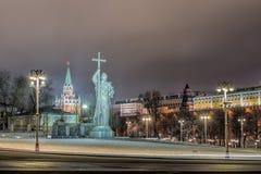 Monument de Vladimir à Moscou la nuit Photo libre de droits