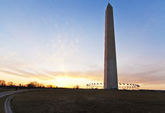 Monument de Washington au crépuscule Photos libres de droits