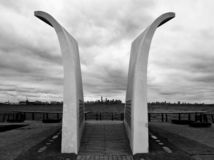 Monument dedicated to the victims of 9-11 on Staten Island black and white royalty free stock images