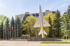 The monument depicting Soviet warplane airplane Royalty Free Stock Photography
