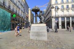 Monument ` der Bär und das Erdbeerbaum `, Madrid Stockbilder