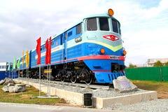 Monument der sowjetischen Diesellokomotive TE3 Lizenzfreie Stockfotografie
