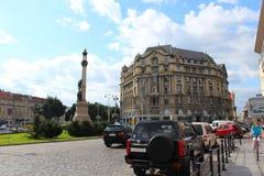 Monument des Dichters Adam Mickiewicz in Lvov Lizenzfreie Stockbilder