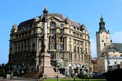Monument des polnischen Dichters Adam Mickiewicz in Lemberg Lizenzfreies Stockfoto