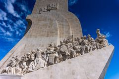 Monument of the Discoveries at the Tagus River estuary,Lisboa, Portugal. Monument of the Discoveries is a monument on the northern bank of the Tagus River royalty free stock photography