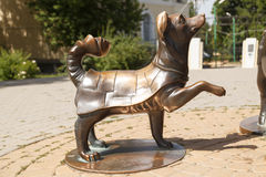 Monument the Dog lifted a paw. TAGANROG, RUSSIA - June 23, 2016: A monument to heroes of stories of Chekhov in the form of a dog lifted a paw. Taganrog, Russia Royalty Free Stock Images