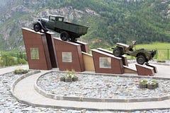 Monument drivers of Chuysky Trakt in Altai Stock Photo