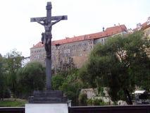 Monument du christianisme dans le ½ Krumlov d'ÄŒeskà Photographie stock libre de droits