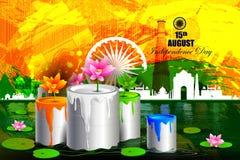 Monument en Oriëntatiepunt op Indische de vieringsachtergrond van de Onafhankelijkheidsdag royalty-vrije illustratie