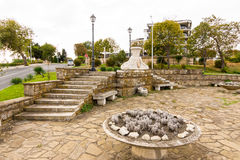 The monument at the entrance to the old Nessebar in Bulgaria Stock Photography