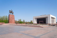 Monument Epic of Manas on Ala-Too Square. BISHKEK, KYRGYZSTAN - MAY 02, 2014: Monument Epic of Manas on Ala-Too Square. Bishkek formerly Frunze, is the capital royalty free stock photography