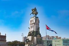 Antonio Maceo monument and cuban flag, Havana, Cuba royalty free stock photo