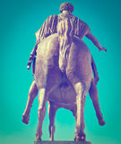 Monument. The Equestrian Monument of Marcus Aurelius in Rome, Instagram Effect royalty free stock images