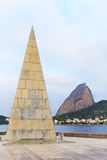 Monument Estacio de Sa in Park Flamengo (Aterro) Sugarloaf mount Stock Photo