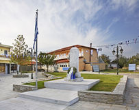 Monument in Evzonoi. Maiin sqare. Greece.  Royalty Free Stock Images