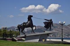 Monument-Exodus auf dem Damm von Novorossiysk Symbol, das Truppen entfernt Stockfoto